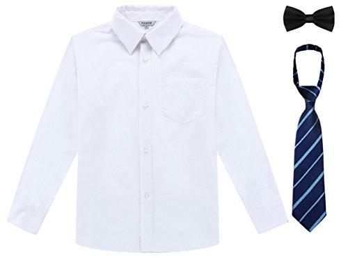 Bienzoe Jungen Schuluniform Lange Oxford Hemd Pack Weiß Größe 10