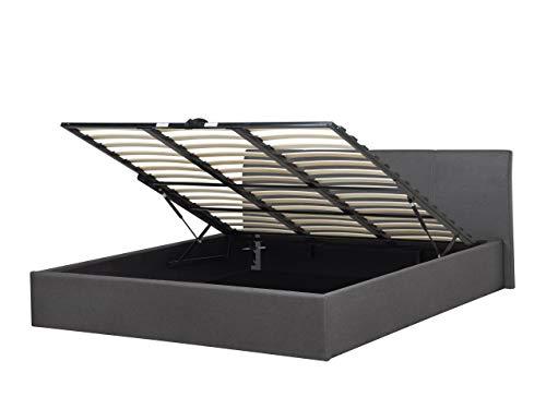 Modernes Polsterbett grau 160x200 cm mit hochklappbarem Bettkasten Bettgestell Orbey