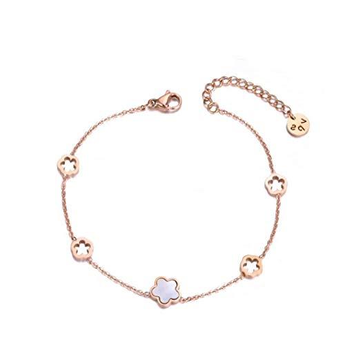 BYFRI Trendy RVS Wit Shell Bloem Bedel Armbanden Voor Vrouwen Meisjes Rose Gouden Ketting & Link Armband Sieraden