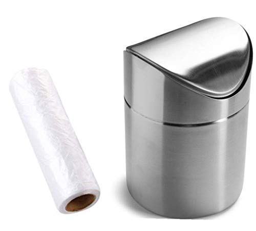 Mini Countertop Brushed Stainless Steel Swing Lid Trash Can Set, Come with Trash Bag, 1.5 L / 0.40 Gal , Multiple Color Options, Silver