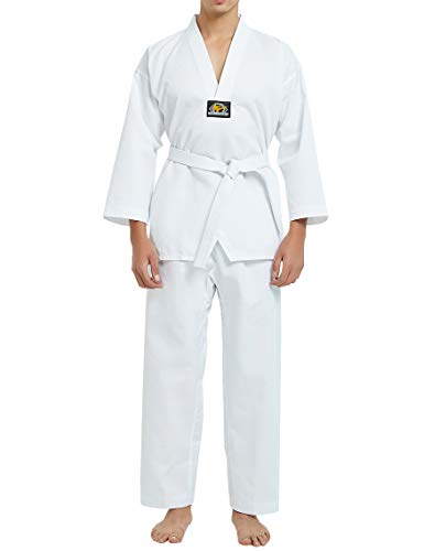 TOPTIE 7.5 Oz Taekwondo Suit TKD Dobok Student Uniform with Belt-White Trim-Size 00