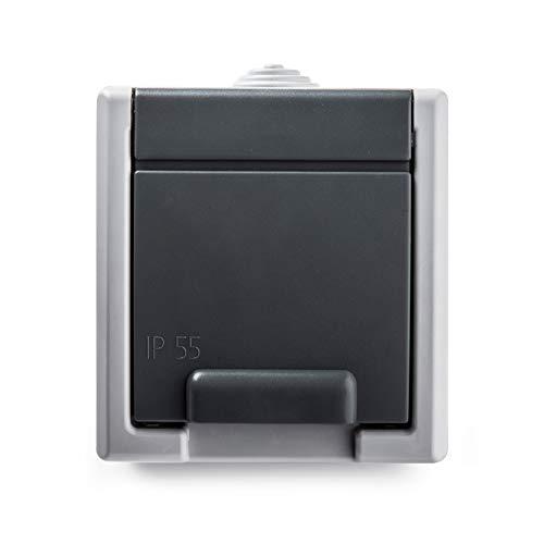 Famatel 19078 Base | Enchufe de empotrar |Serie Aquant 55 | IP55 | Protección Infantil | A Prueba de Agua | Fácil de Instalar Este Producto | Aluminio | Gris