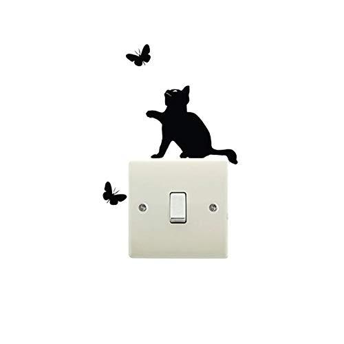 Weigeng - Pegatina para interruptor de vinilo con diseño de gato y mariposa, para decoración del hogar, resistente al agua, extraíble