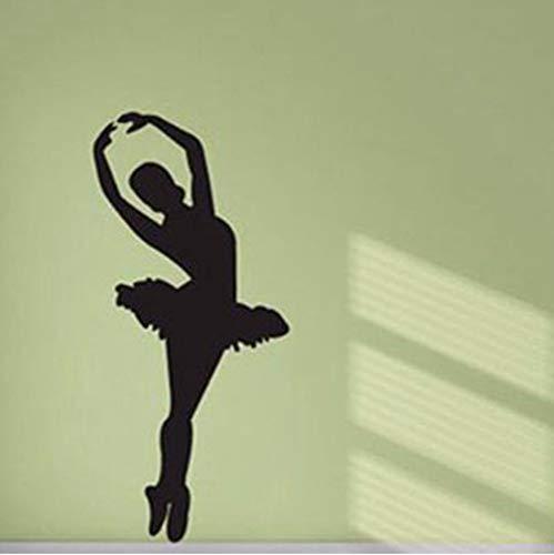 Bailarina de ballet Silueta Extraíble Vinilo Arte de la pared habitación de las niñas etiqueta de la pared bailarinas bailarinas bailarina bailarina estudio de baile 25x56 cm