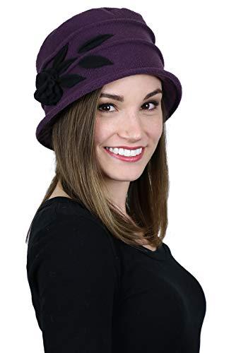 Womens Hat Plum Purple Fleece Cloche Cancer Headwear Chemo Ladies Winter Head Coverings Double Layer Lady Rose