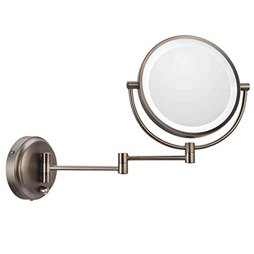 WFY Espejos de baño Cuarto de baño Cuarto de baño Maquillaje de Doble Cara Pared Colgando de la Pared Iluminada Belleza Plegable Retráctil Vanity Mirror Highlights Rotación de 360 Grados 8 Pulgadas