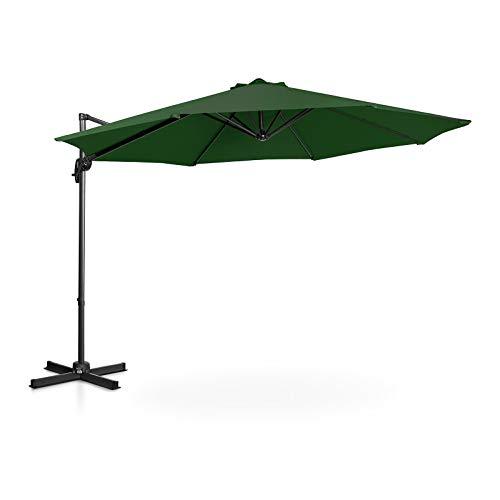 Uniprodo Sombrilla Tipo Semáforo Parasol Colgante Uni_Umbrella_2R300GR (Pantalla Redonda, Ø 300 cm, Giratoria, Color Verde)