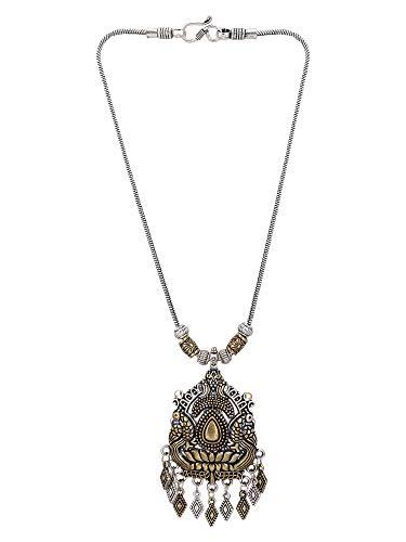 Efulgenz Boho Two Toned Vintage Antique Ethnic Gypsy Tribal Indian Oxidized Silver Statement Pendant Necklace Jewellery