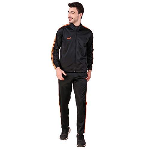 Pro Sports Men's Tracksuit (PRO_TrackSuit_SuperPoly-7000A_M_Black & Orange_Medium)