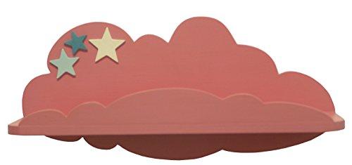 AFAEPS Sonpó Online-Modelo AFA40-Estante Infantil con Forma de Nube Colocar Libros, Juguetes, Peluches, Accesorios-Hecho a Mano de Manera Artesanal-Color Rosa con Estrellas Decorativas