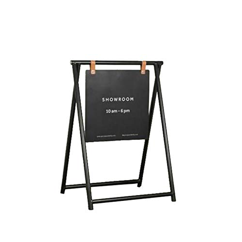 Jcnfa-side table Metal Display Stand,Small Coffee Shop Sign,Outdoor Wrought Iron Billboard,Floor-standing Store Vertical Doorway Display Rack(Size:50 * 70cm,Color:black)