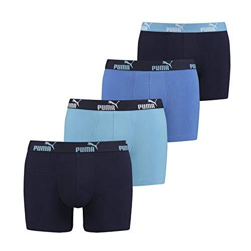 Puma, Herren-Boxershorts aus Baumwolle, mit Logo, 4 Stück, Herren, Blau - Dunkelblau - Schwarz, S