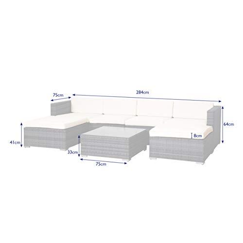 SVITA Lugano Poly Rattan Lounge Garten-Set XXL Sofa-Set Garnitur Gartenmöbel Couch-Set (XXL, Grau) - 3