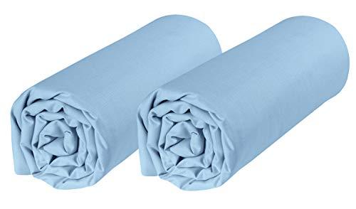P'tit Basile – Juego de 2 sábanas bajeras para cuna de colecho 50 x 80 cm, algodón ecológico, color azul cielo Algodón certificado GOTS y Oekotex