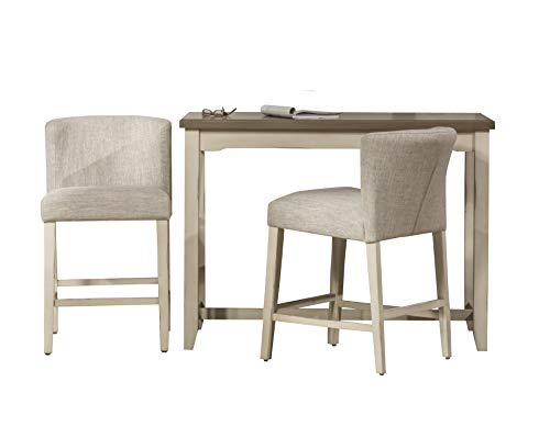 Hillsdale Furniture Hillsdale Clarion Wing Back Stools 3 Piece Console Set, Distressed Gray/Sea White