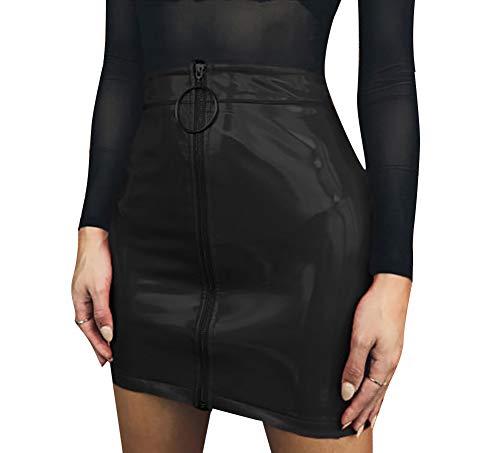 Carolilly Minifalda de Mujer con Cremallera Falda de Cintura Alta Lápiz Corto Elegante Moda (Negro, M)