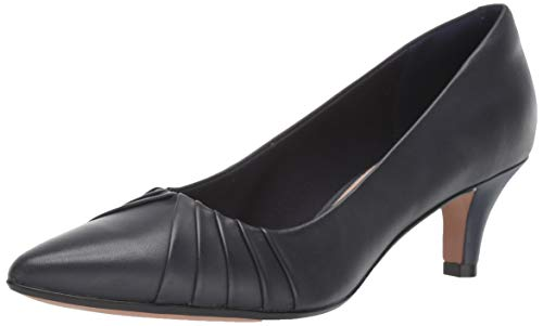 Clarks womens Linvale Crown Pump, Navy Leather, 8.5 US