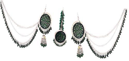 Bollywood indio étnico tradicional moda plata oxidada cuentas afganas Boho gitano tribal maang tika jhumka colgante Bahubali cadena pendientes cabeza joyería verde oscuro