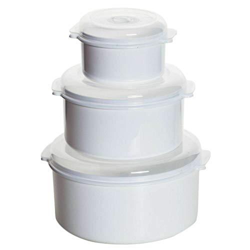 astor24 Premium 3er Set Mikrowellen Töpfe Vorrats Dose Aufbewahrung Geschirr zum erhitzen, einfrieren Deckel mit Belüftung und Zeitanzeiger BPA frei sehr stabil und bruchsicher