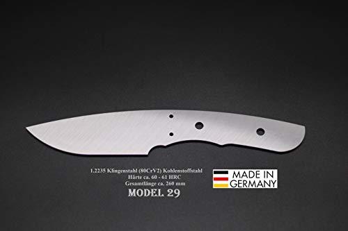 Rohling Messer Model 29 / 260mm Poliert Messerbau Messerstahl Messerklinge Klingenrohling Jagdmesser