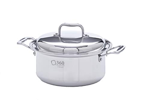 360 Stainless Steel Stock Pot with Lid, Handcrafted in the USA, Induction Cookware, Waterless Cookware, Dishwasher Safe, Oven Safe, Stainless Steel Cookware, Dutch Oven, Stockpot (4 Quart)