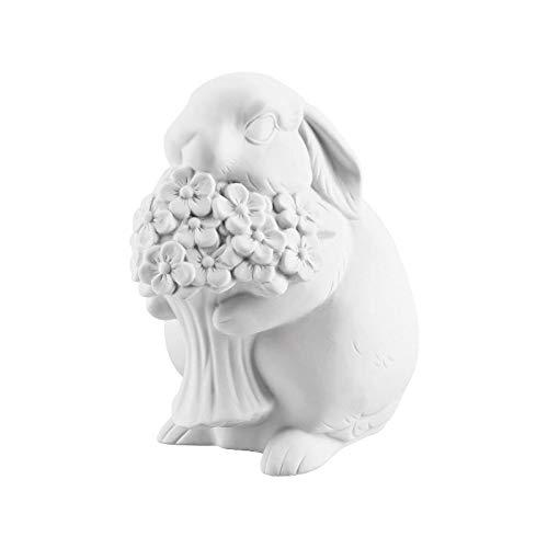 Hutschenreuther Blumen 10 cm weiß biskuit Porzellan-Hase, 10 x 7 cm
