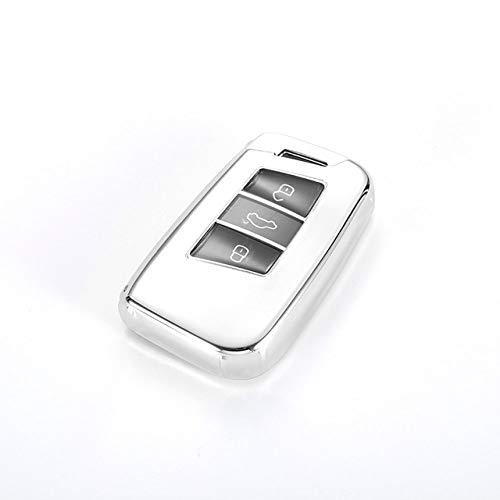Funda protectora para llave de coche, TPU para llave de coche, compatible con Volkswagen VW Tiguan MK2 Magotan Passat B8 CC 2017 2018 para Skoda Superb A7, C, plata