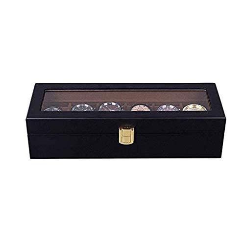 XHLLX Jewelry Box Watch Box, 6 Slots Watch Funda con Servicio De Valet, Reloj De Madera Cubierto De Vidrio Mostrar Caja Reloj Organizador
