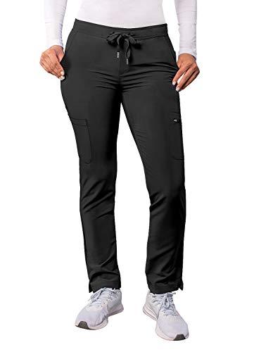 Adar Addition Scrubs for Women - Skinny Leg Cargo Drawstring Scrub Pants - A6104 - Black - L