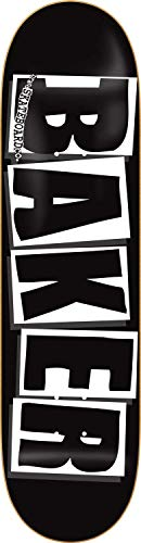 Baker Skateboard Brand Logo Deck Black/White Mellow Concave Gratis Grip (8.125 Zoll, Schwarz)