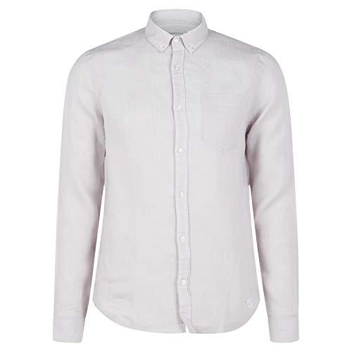 Nowadays Baumwoll-Hemd mit Brusttasche und Rundhalsausschnitt Silber (235 Very Light Grey) XL