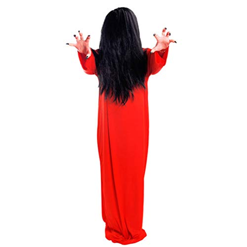 Amosfun 2 unids Disfraces de Halloween Cosplay Scary Ghost Costume Traje de Pelo Negro Mujer Disfraces de Fantasma Rojo para Masquerade Cosplay Accesorios del Partido