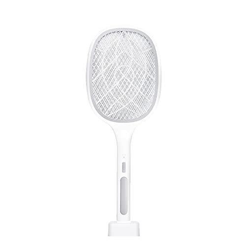 WBYY Raqueta Matamoscas Eléctrica,USB Recargable Raqueta Mosquitos Electrica con Base de Carga, 3 Capas de Malla de Seguridad de Protección,Gris