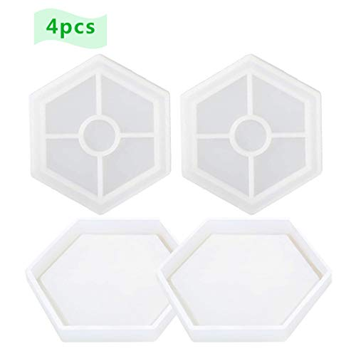 4 Pcs DIY Hexagon Coaster Silicone Mold Silicone Resin Mold Clear Epoxy Molds for Casting with Resin, Concrete, Cement and Polymer Clay