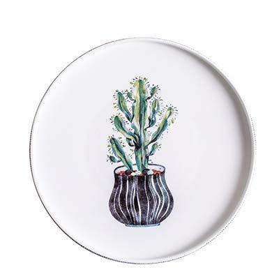 JHFIHOJ Geschirr Nordic Handpainted Cactus Plates Bone China Porcelain Tableware Christmas Table Service Platter Blue