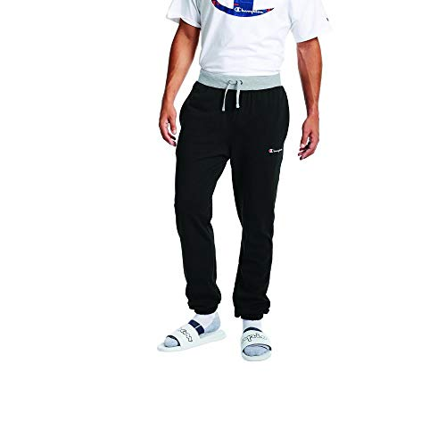 Champion Men's MIDDLEWEIGHT Jogger, Black/Oxford Grey, 2X Large