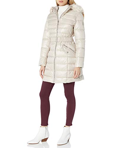 Kenneth Cole Women's Belted Puffer with Faux Fur Trimmed Hood, Bone, Medium