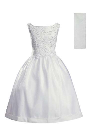 Lito Childrens Wear First Communion Dresses for Girls 7-16 Plus Size Teens Floor Length White (Size 7)