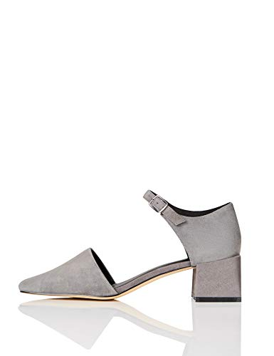 find. Block Heel Two Part Suede Mary Jane, Gris Grey), 36 EU