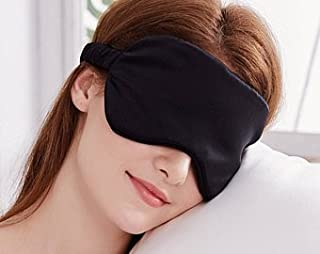 YUNS Advanced 19 Momme Mulberry Silk Sleep Mask, Both Sides Silk, Silk Covered Elastic Band, Big Size 22X10cm, Anti-Aging, Anti-Eye Wrinkles, Light-Blocking, 1pc.(Black)