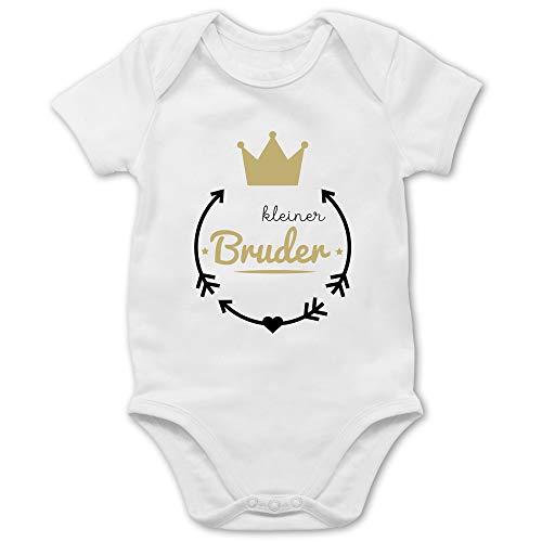 Shirtracer Geschwisterliebe Baby - Kleiner Bruder - Krone - 1/3 Monate - Weiß - Kleiner Bruder Body - BZ10 - Baby Body Kurzarm für Jungen und Mädchen