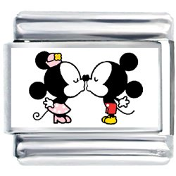 Minnie Mouse Kissing With Mickey Mouse Photo Italian Charm