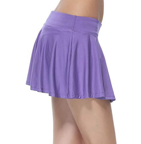 Women's Gym Dri-fit Athleta Skorts With Underwear Covered (Purple, Medium)