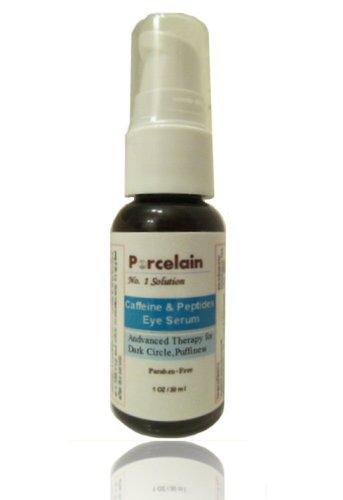 Caffeine & Peptides Eye Serum Enriched with Argireline, Eyeseryl, Haloxyl, Coenzyme Q10, Caffeine, Vitamin C &E, Hyaluronic Acid Intensive Treatment for Dark Circles, Puffy Baggy Eye 1 oz