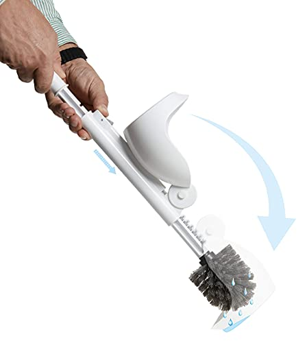 Product Image of the ELYPRO Drip Free Toilet Brush with Holder, Portable and Hygienic Scrubber, Clean Multiple Bathrooms, Unique Attached Caddy Design for No-Drip Experience, Does Not Spill Contaminated Water
