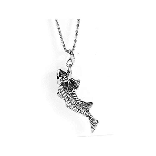LKYH Classic Retro Fashion Cool Simple Personality Stainless Steel Fossil Fishbone Titanium Steel Pendant Necklace Woman Man Gift
