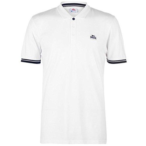 Lonsdale Herren Jersey Polo Shirt Klassische Passform Weiß/marinefarbe L