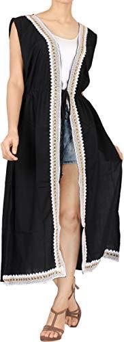LA LEELA Costumi di Halloween Copricostume Mare Cardigan Donna Taglie Forti- Vintage Rayon Estivo Scialle Elegante Solido Kimono Vestito Lungo Estate Boho Tunica Etnica Abito da Spiaggiù Nero_A921