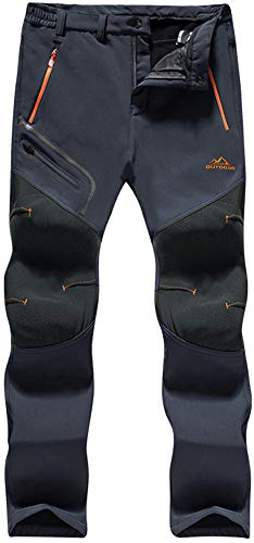 TACVASEN Snow Trousers for Men Winter Windproof Trousers Stretch Mountain Bottoms Mens Fitness Jogger Cycling Outdoor Sport Hunting Pants Multi Pockets, Thick - Dark Grey, 40