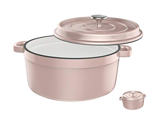 Especo Cast Dutch Oven Iron with Lid Enameled Casserole Dish Nonstick Multi-functional Cookware Large Loop Handles & Self-Basting Condensation Ridges On Lid (6-quart, Pink)